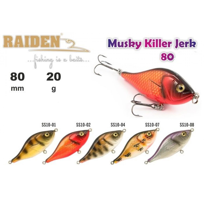 Воблер деревянный RAIDEN Musky Killer Jerk 80